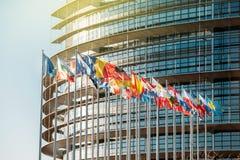 Ευρωπαϊκές σημαίες Parliamentfrontal Στοκ Εικόνα