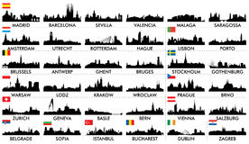 Ευρωπαϊκές χώρες οριζόντων πόλεων Στοκ Φωτογραφίες