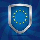 Ευρωπαϊκή Ένωση εικονιδίων ασπίδων ασφάλειας Στοκ φωτογραφία με δικαίωμα ελεύθερης χρήσης
