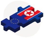 Ευρωπαϊκή Ένωση και Κορέα-βόρεια σημαίες στο γρίφο Στοκ φωτογραφίες με δικαίωμα ελεύθερης χρήσης