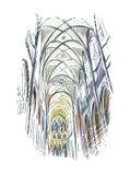 Ευρωπαϊκή εκκλησία άποψης απεικόνισης σκίτσων εσωτερική ελεύθερη απεικόνιση δικαιώματος