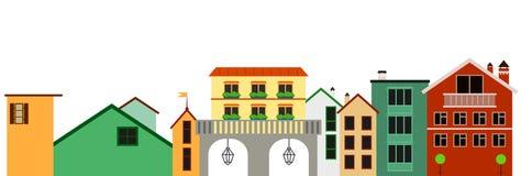 Ευρωπαϊκή ζωηρόχρωμη panotamic πόλης απεικόνιση Απομονωμένη διάνυσμα σειρά των κτηρίων Στοκ Εικόνες