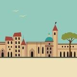 Ευρωπαϊκή οδός με την εκκλησία ελεύθερη απεικόνιση δικαιώματος