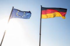 ευρωπαϊκός και γερμανικός κυματισμός σημαιών Στοκ Φωτογραφίες