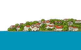 ευρωπαϊκός παλαιός πόλεω κλίση που αλιεύει το μεσογειακό καθαρό τόνο θάλασσας Σκίτσο για το σχέδιό σας διανυσματική απεικόνιση