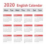 2020 ευρωπαϊκό αγγλικό ημερολόγιο στοκ εικόνες με δικαίωμα ελεύθερης χρήσης