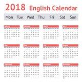 2018 ευρωπαϊκό αγγλικό ημερολόγιο Στοκ Εικόνες