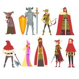 Ευρωπαϊκό μεσαιωνικό σύνολο χαρακτήρων, παλαιά μάγισσα, ιππότης, τοξότης, βασιλιάς, πριγκήπισσα, Executioner, άνθρωποι στα ιστορι ελεύθερη απεικόνιση δικαιώματος