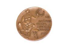 Ευρωπαϊκό μετάλλιο συμμετοχής πρωταθλημάτων αθλητισμού της Βουδαπέστης 1966, obverse Kouvola, Φινλανδία 06 09 2016 στοκ εικόνα