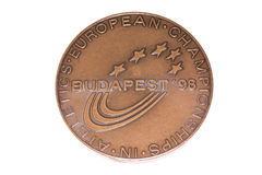 Ευρωπαϊκό μετάλλιο συμμετοχής πρωταθλημάτων αθλητισμού της Βουδαπέστης 1998, obverse Kouvola, Φινλανδία 06 09 2016 Στοκ Εικόνα
