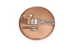 Ευρωπαϊκό μετάλλιο συμμετοχής πρωταθλημάτων αθλητισμού της Στουτγάρδης 1986, obverse Kouvola, Φινλανδία 06 09 2016 στοκ εικόνες