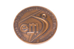 Ευρωπαϊκό μετάλλιο συμμετοχής πρωταθλημάτων αθλητισμού του Ελσίνκι 1971, obverse Kouvola, Φινλανδία 06 09 2016 Στοκ Φωτογραφία