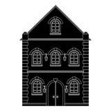 ευρωπαϊκό σπίτι παλαιό Επίπεδο μαύρο σχέδιο Στοκ φωτογραφία με δικαίωμα ελεύθερης χρήσης