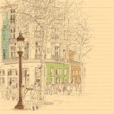 Ευρωπαϊκό ύφος σκίτσων γραμμών οδών πόλεων και συμένος λαών υπό εξέταση απεικόνιση αποθεμάτων