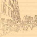 Ευρωπαϊκό ύφος σκίτσων γραμμών οδών πόλεων και συμένος λαών υπό εξέταση ελεύθερη απεικόνιση δικαιώματος