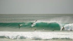 Ευρύς πυροβολισμός των surfers που οδηγά ένα κύμα στο kirra στοκ εικόνες