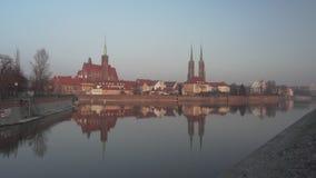 Ευρύς πυροβολισμός Ostrow Tumski σε Wroclaw απόθεμα βίντεο