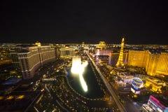 Ευρύς πυροβολισμός νύχτας Las Vegas Strip Στοκ φωτογραφία με δικαίωμα ελεύθερης χρήσης