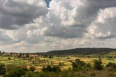 Ευρύτερος πυροβολισμός του χωριουδακιού Kallahalli Kaval σε κεντρικό Karnataka, Ινδία στοκ εικόνες