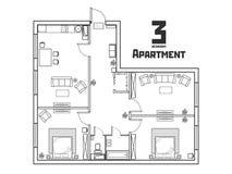 Ευρύχωρο γραπτό διαμέρισμα με τρεις κρεβατοκάμαρες ελεύθερη απεικόνιση δικαιώματος