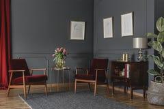 Ευρύχωρο, κομψό εσωτερικό καθιστικών με τη σχηματοποίηση στο σκοτεινό τοίχο Στοκ εικόνες με δικαίωμα ελεύθερης χρήσης