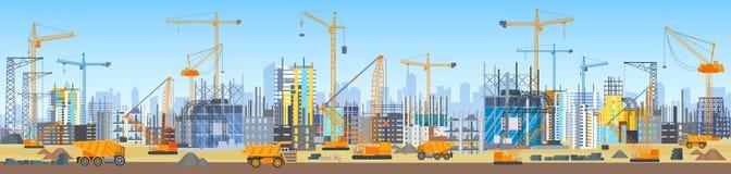 Ευρύ επικεφαλής έμβλημα της διαδικασίας κατασκευής οριζόντων πόλεων Γερανοί πύργων στο εργοτάξιο οικοδομής Κτήρια κάτω από την οι Στοκ φωτογραφία με δικαίωμα ελεύθερης χρήσης