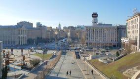 Ευρύ μήκος σε πόδηα γωνίας του κύριου κεντρικού τετραγώνου της πρωτεύουσας Κίεβο στην Ουκρανία - τετράγωνο ανεξαρτησίας φιλμ μικρού μήκους