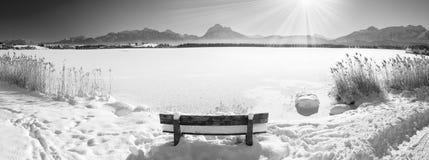 Ευρύ τοπίο πανοράματος στη Βαυαρία με τα βουνά ορών και λίμνη το χειμώνα Στοκ εικόνες με δικαίωμα ελεύθερης χρήσης