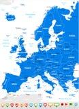 Ευρώπη - εικονίδια χαρτών και ναυσιπλοΐας - απεικόνιση Στοκ Φωτογραφία