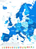 Ευρώπη - εικονίδια χαρτών και ναυσιπλοΐας - απεικόνιση Στοκ Εικόνες