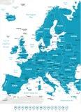 Ευρώπη - ετικέτες χαρτών και ναυσιπλοΐας - απεικόνιση Στοκ Φωτογραφίες