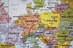 Ευρώπη σε έναν χάρτη στοκ εικόνες με δικαίωμα ελεύθερης χρήσης