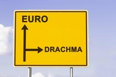 Ευρώ ή πίσω στη δραχμή Στοκ φωτογραφία με δικαίωμα ελεύθερης χρήσης