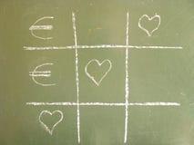 Ευρώ αγάπης σπασμός-TAC-toe Στοκ Φωτογραφία