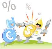 ευρώ δολαρίων εναντίον διανυσματική απεικόνιση
