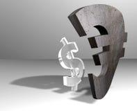 ευρώ δολαρίων νομισμάτων Στοκ εικόνα με δικαίωμα ελεύθερης χρήσης