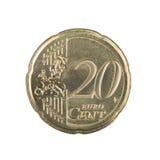 ευρώ είκοσι νομισμάτων σεντ Στοκ Εικόνα