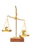 Ευρώ και λίβρα αξίας νομίσματος Στοκ φωτογραφίες με δικαίωμα ελεύθερης χρήσης