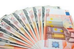 Ευρώ και δολάρια Στοκ Εικόνα