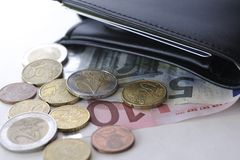 Ευρώ και πορτοφόλι Στοκ Φωτογραφία