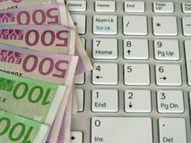 Ευρώ και υπολογιστής Στοκ Εικόνες