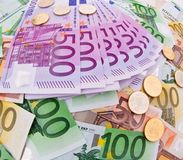ευρώ νομίσματος κολάζ Στοκ φωτογραφίες με δικαίωμα ελεύθερης χρήσης