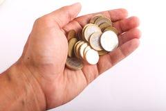 Ευρώ νομισμάτων λαβής χεριών Στοκ φωτογραφία με δικαίωμα ελεύθερης χρήσης