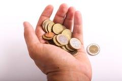 Ευρώ νομισμάτων λαβής χεριών Στοκ εικόνα με δικαίωμα ελεύθερης χρήσης