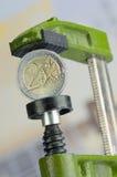 ευρώ νομισμάτων σφιγκτηρών Στοκ φωτογραφία με δικαίωμα ελεύθερης χρήσης