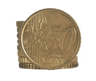 Ευρώ νομισμάτων σωρών Στοκ φωτογραφία με δικαίωμα ελεύθερης χρήσης