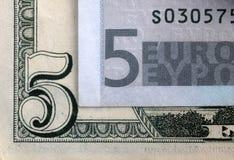 ευρώ 5 δολαρίων Στοκ εικόνες με δικαίωμα ελεύθερης χρήσης