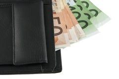 Ευρώ στο πορτοφόλι που απομονώνεται στο λευκό Στοκ εικόνα με δικαίωμα ελεύθερης χρήσης
