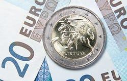 2 ευρώ της Λιθουανίας Στοκ Εικόνες