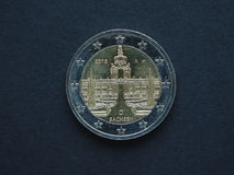 2 ευρώ & x28 EUR& x29  νόμισμα, νόμισμα της Ευρωπαϊκής Ένωσης & x28 EU& x29  Στοκ Φωτογραφία